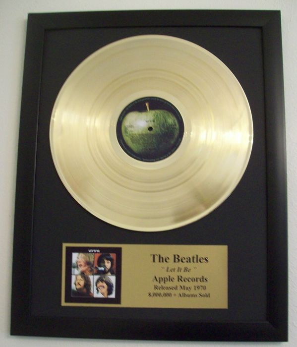 The Beatles Let it Be LP Album with Gold Plated plague