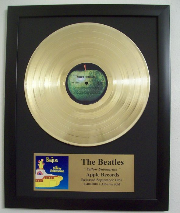 The Beatles Yellow Submarine LP Album with Gold Plated plague