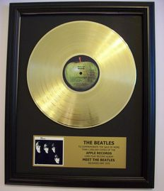 The Beatles Meet the Beatles LP Album with Gold Plated plague