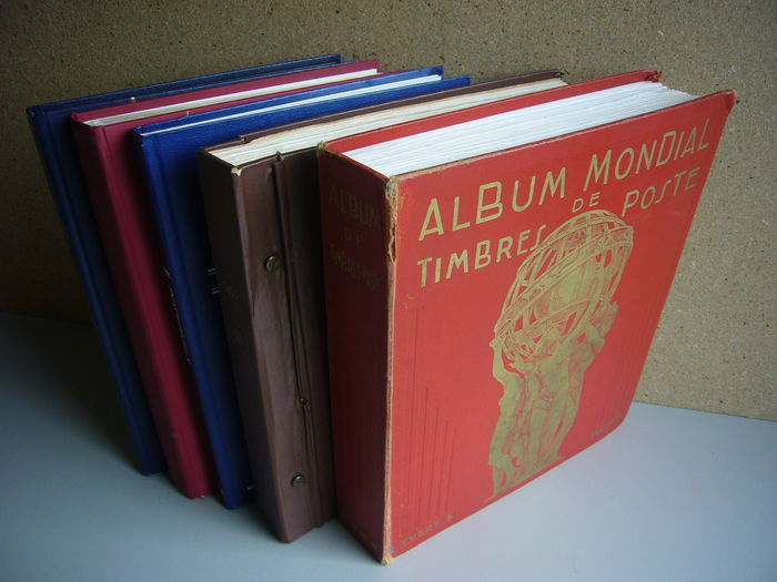 World - Collection in 3 stock books and 2 old preprint albums