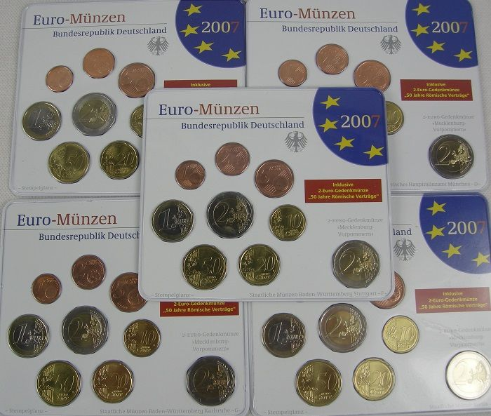 Germany Euro Coin Set 2007 A D F G J Incl 5 X 2 Euro
