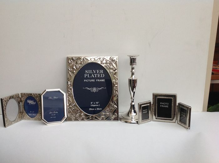 Collection Silver Plated Seven Photo Frames And A Candle Stand 2nd