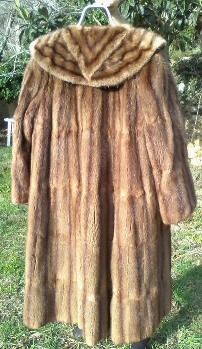 Vintage design mink coat with shawl collar