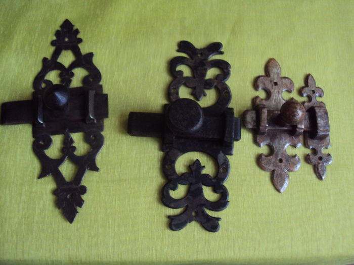 Set Of 3 Wrought Iron Door Bolts   France   20th Century