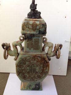 Large hard stone urn, handmade and crowned with a bronze Guanyin - China - second half of the 20th  century