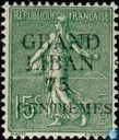 Great Lebanon overloaded on french stamp
