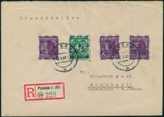 Allied Occupation American/British Zone 1948 .- 42 Pfg Numbers with net overprint on letter with additional franking -- Michel VII/II