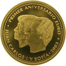 Spain – 200 Euros 2003 'Birth of the Euro' – Juan Carlos I & Sofia – 13,5 g gold