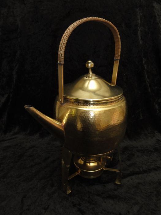 wmf brass teapot with chafing dish catawiki. Black Bedroom Furniture Sets. Home Design Ideas
