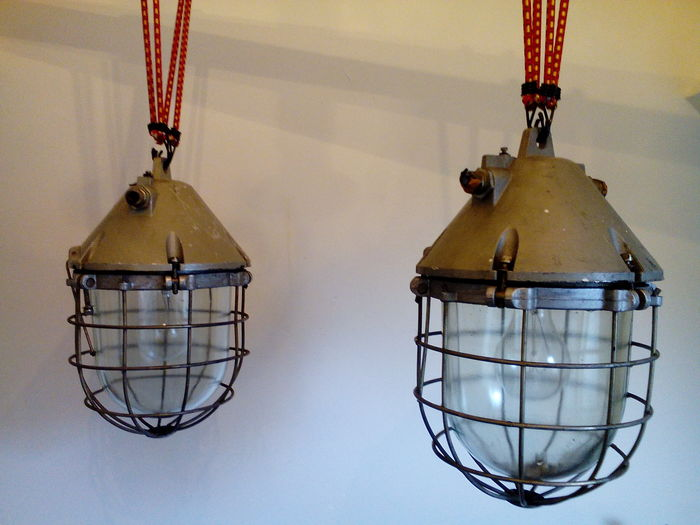 "Two XXL ""Bully"" cage lamps - industrial / factory lights"