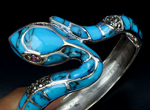 925 Silver - Bracelet - 2.00 ct Turquoise - Ruby, Turquoise