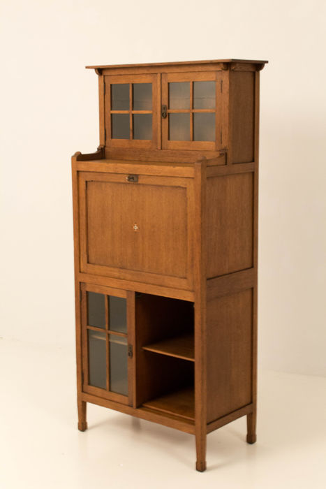 art nouveau secretary book cabinet catawiki. Black Bedroom Furniture Sets. Home Design Ideas
