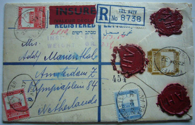 Palestine, British mandate 1937 - Registered and insured letter to Amsterdam
