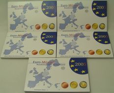 Germany – Year sets of Euro coins 2005 A, D, F, G, J (5 pieces)