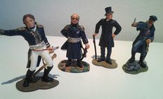 Model figures; Lot with five hand-painted figures in tin, including Maarschalk Ney and Blücher - 2000 (5)