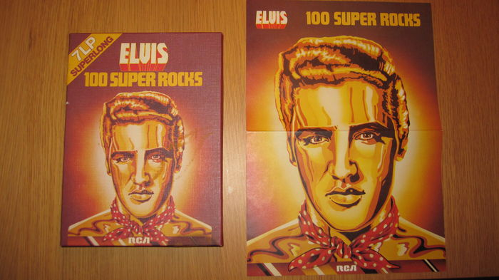 Elvis 100 Super Rocks 4 super long cassettes box set with poster