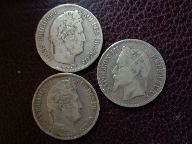 France - 5 Francs 1931-1939-1868 (3 different coins)