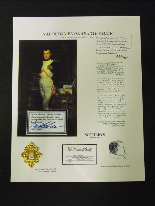 Paraphernalia; Authentic 'hair' Napoleon Bonaparte