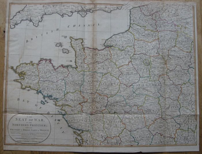 Batailles; Laurie and Whittle - A new map of the seat of war on the northern frontier; and in the western & middle parts of France - 1795