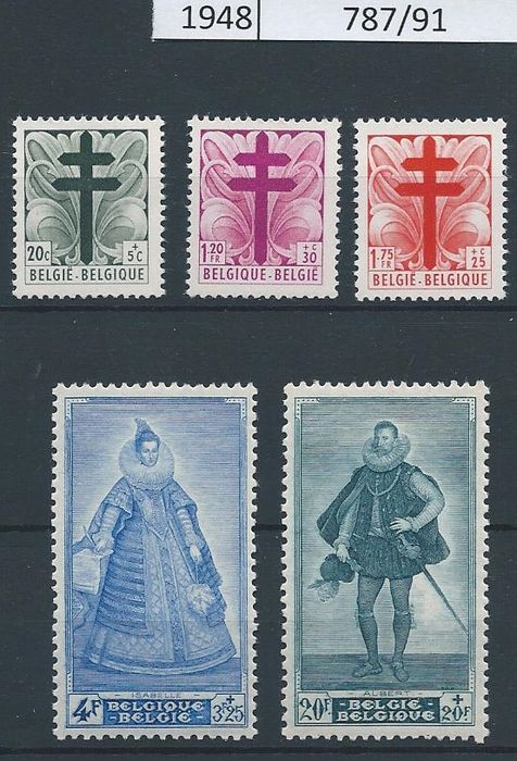 Belgium 1943/1950 - Collection complete issue with Senate 1/4 - Between OBP 625 and 826