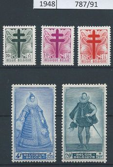 Belgium 1943/1950 – Collection of complete issues with Senate 1/4 – Between OBP 625 and 826