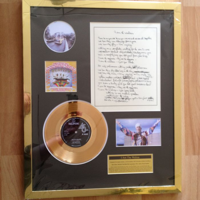 "The Beatles  Gold Disc Record  ""I'm The Walrus"" -  Including Handwritten Lyrics Display"