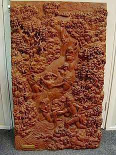 Hardwood carved panel, Suharto Business gift - Indonesia - Second Half 20th century