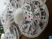 Coffee set with playing card pattern