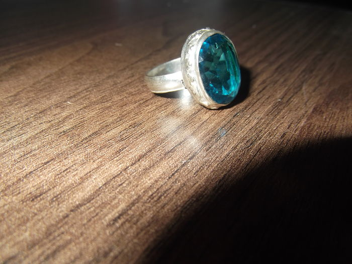 Ring silver 925 set with blue topaz (18)