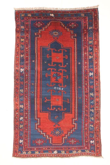 Unusual Russian carpet, ancient Kazak, signed, 1938.