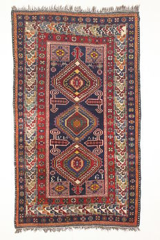 Not to be missed, collectable, signed RUSSIAN SHIRVAN rug from 1943. 258 x 157 cm.