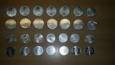 """Canada – 5 and 10 Dollars 1973/1976 """"Montreal Olympics"""" (28 different ones), complete – silver"""