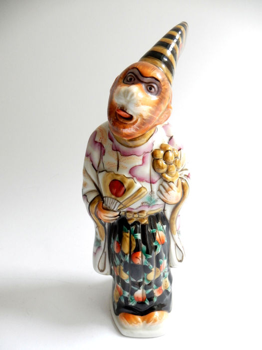 Hirado porcelain monkey in costume  - Japan - c. 1930