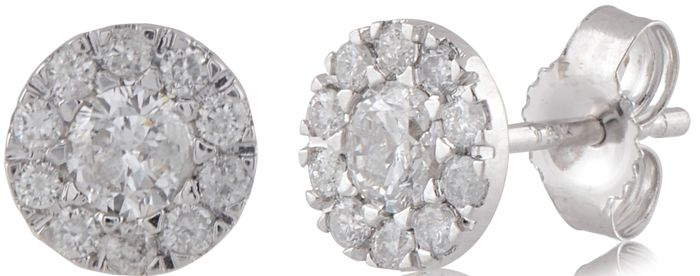 Cluster Diamond earrings with 0.50ct total diamond weight.