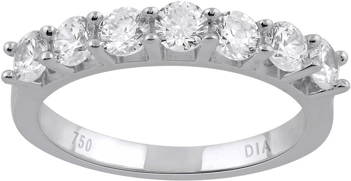 Ring in 18k white gold with round brilliant diamonds, 1.00ct total diamond weight.
