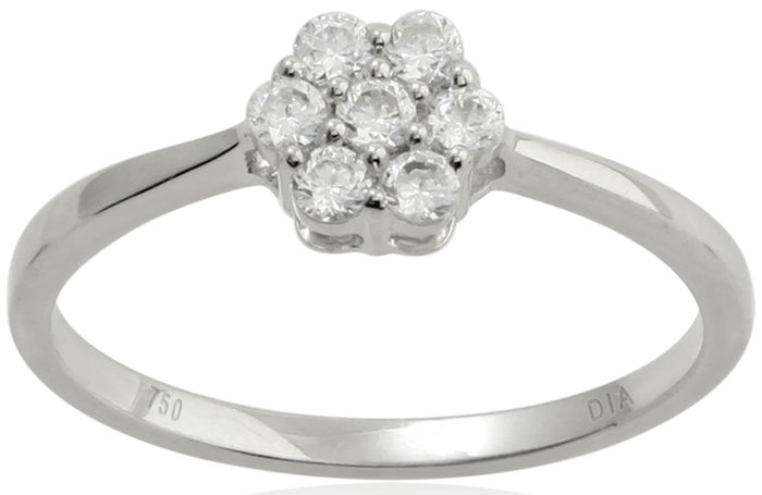 Round Brilliant diamond engagement ring in a cluster setting, 0.50ct total diamond weight.