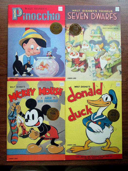 Lot of  4 reproductions of vintage Disney linen-like books Mickey Mouse Donald Duck