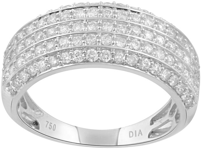 18kt White gold cocktail ring with round brilliant diamonds, 1.00ct total diamond weight.