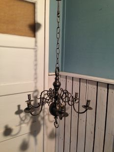 Brass with thin layer of tin (pewter) - candle chandelier - 2nd half 20th century
