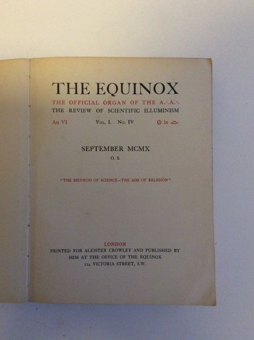 Occultism Aleister Crowley Et The Equinox The Official