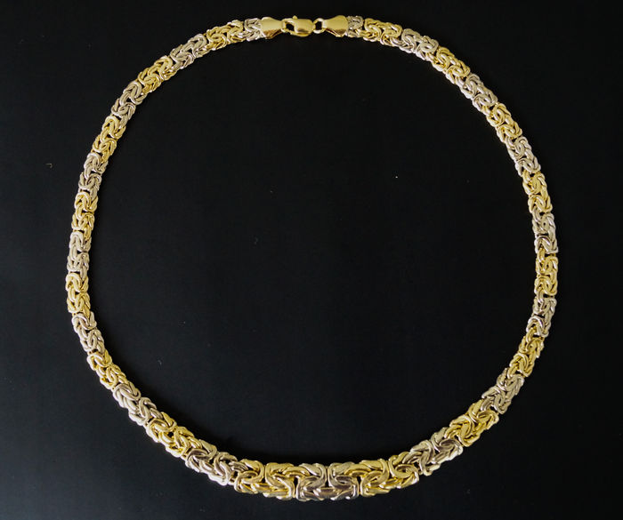 Heavy bicolour golden King's link necklace