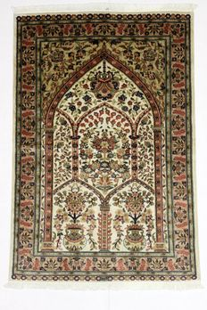 Splendid LAHORE Carpet, wool and silk, very fine, 184 x 124 cm