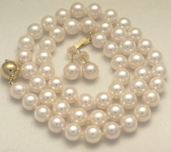 Akoya salt water pearl necklace and earrings 7.5 - 8 mm