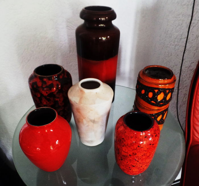 Lot of 5 flawless and very nice retro W. Germany vases