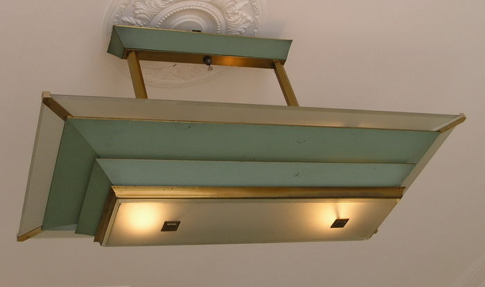 large french art deco ceiling lamp in bauhaus style catawiki. Black Bedroom Furniture Sets. Home Design Ideas