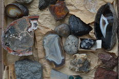 Collection agate, Jade, Minerals and fossils - 7 kg