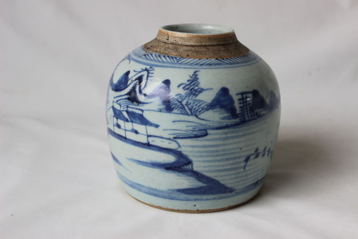 Gemberpot met landschapsdecor - China - 19e eeuw