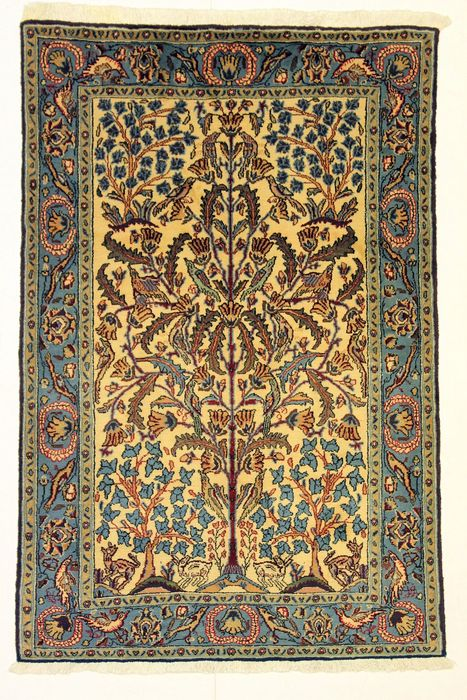 Magnificent GHOUM carpet, Iran, thin, approx. 1960