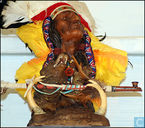 Indians bust with wolf and peace pipe