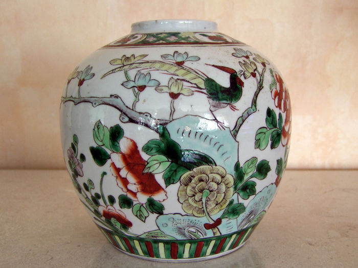 Grote polychrome gemberpot - China - ca. 1900